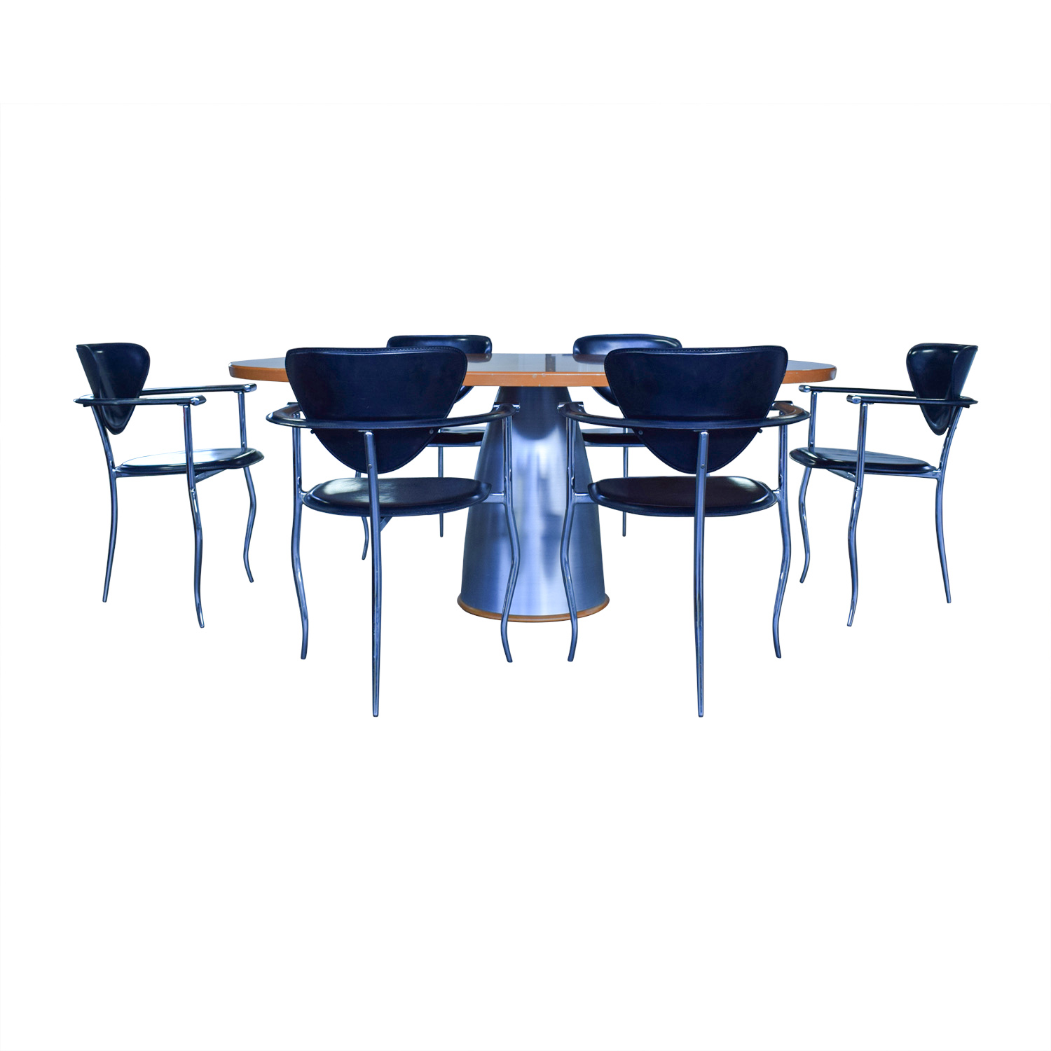 shop Cattelan Cattelan Wood and Steel Table with Black Chairs Dining Set online