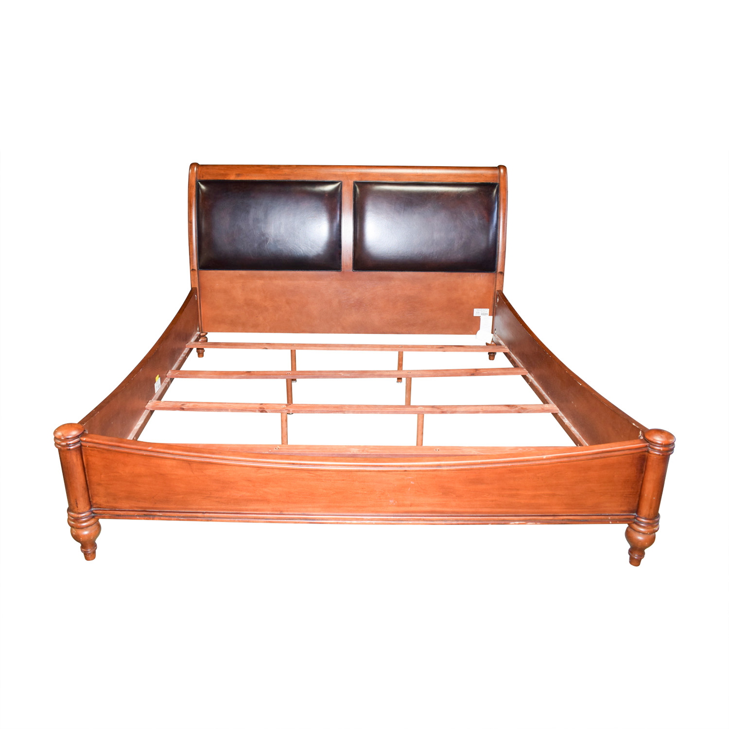 Stanley Furniture Stanley Furniture Leather and Wood Sleigh King Bed Frame on sale