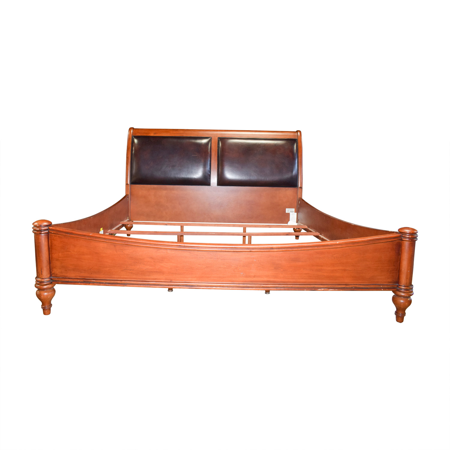 Stanley Furniture Stanley Furniture Leather and Wood Sleigh King Bed Frame used