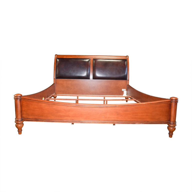 Stanley Furniture Stanley Furniture Leather and Wood Sleigh King Bed Frame discount