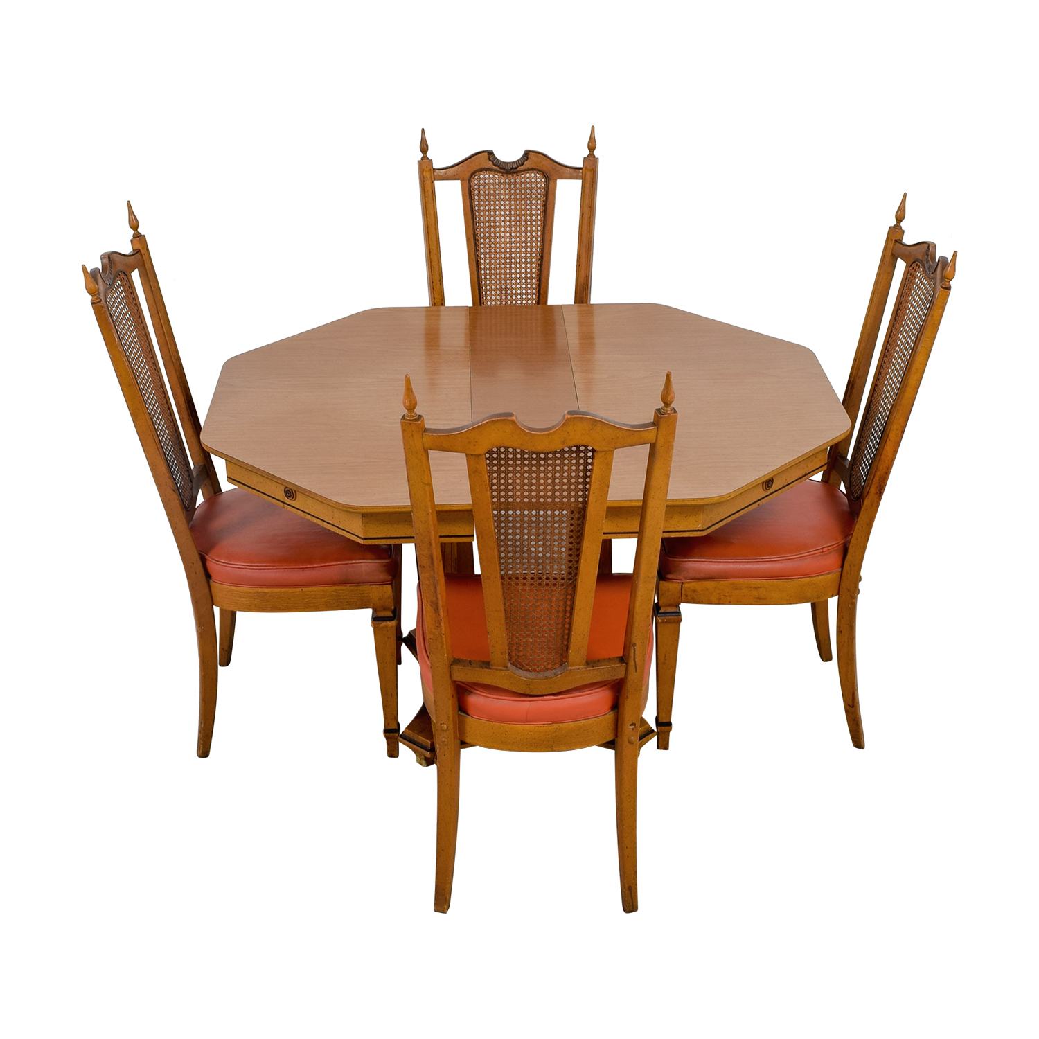 buy Walter Wabash Extendable Wood Dining Set with Red Upholstered Canned Chairs Walter Wabash Tables