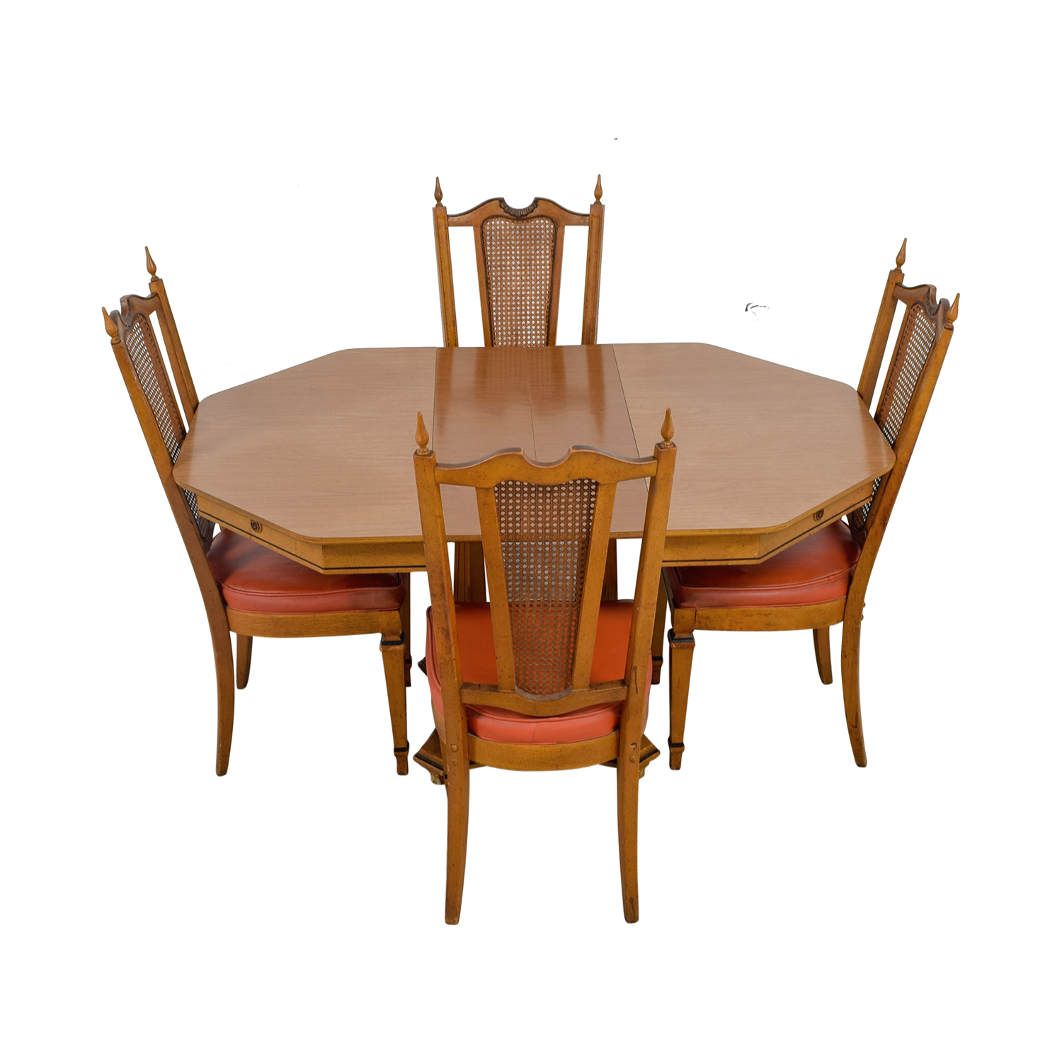 Walter Wabash Walter Wabash Extendable Wood Dining Set with Red Upholstered Canned Chairs price