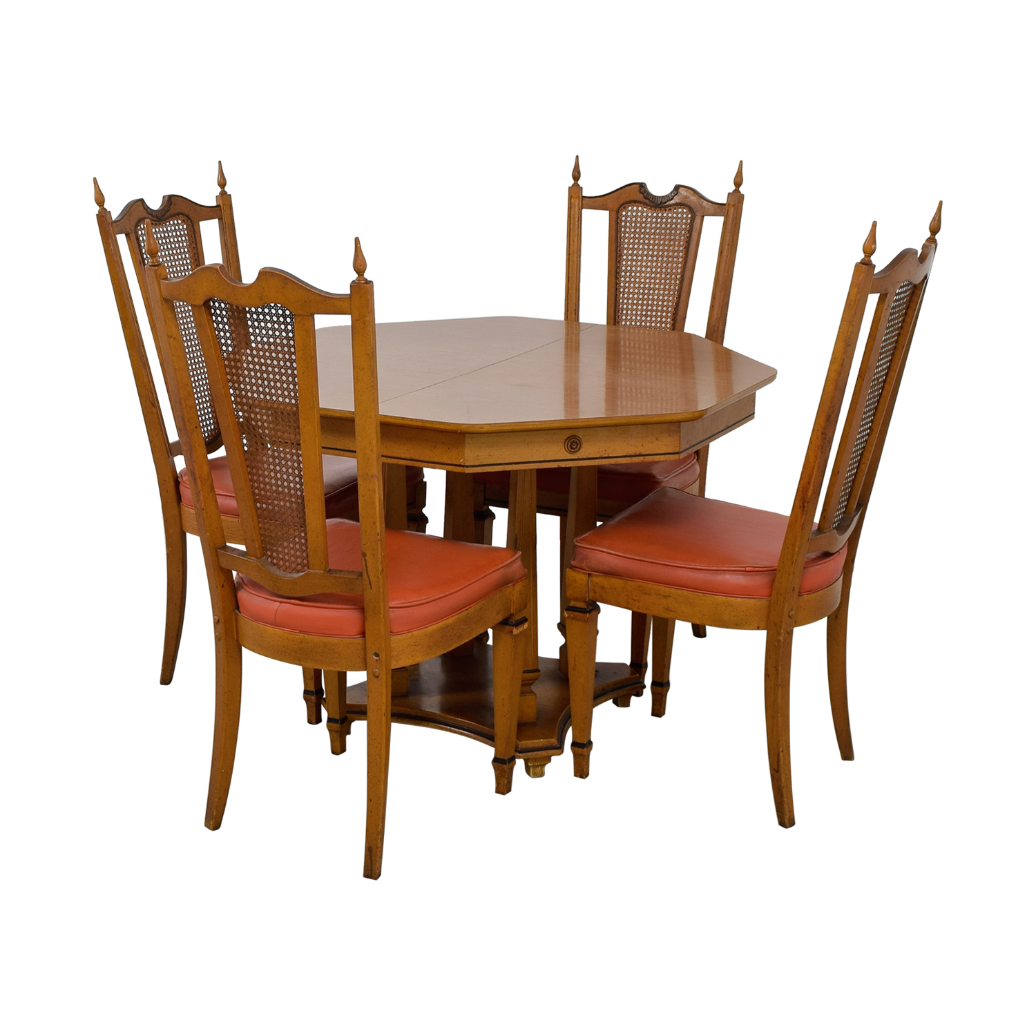 Walter Wabash Walter Wabash Extendable Wood Dining Set with Red Upholstered Canned Chairs Dining Sets