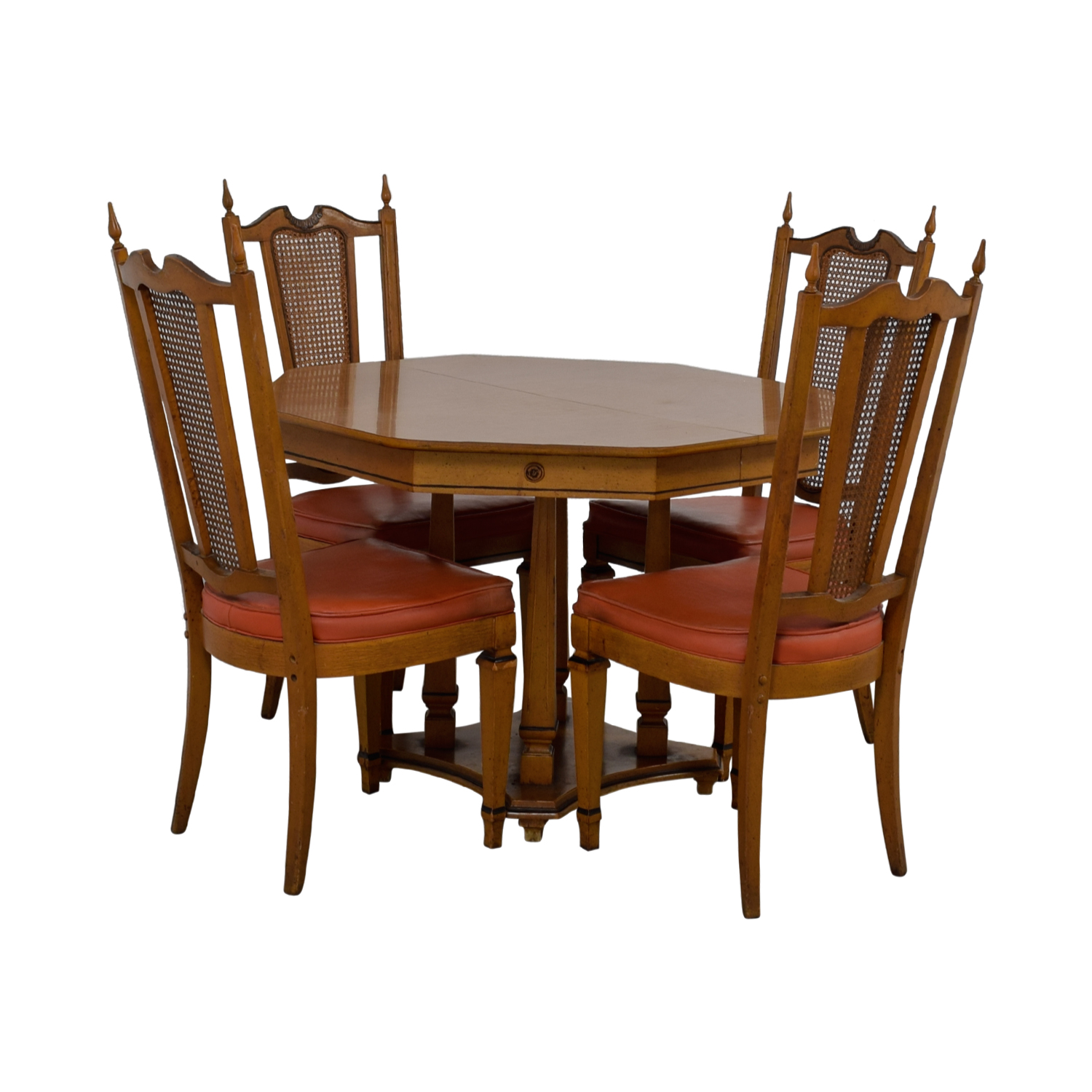 Walter Wabash Walter Wabash Extendable Wood Dining Set with Red Upholstered Canned Chairs discount