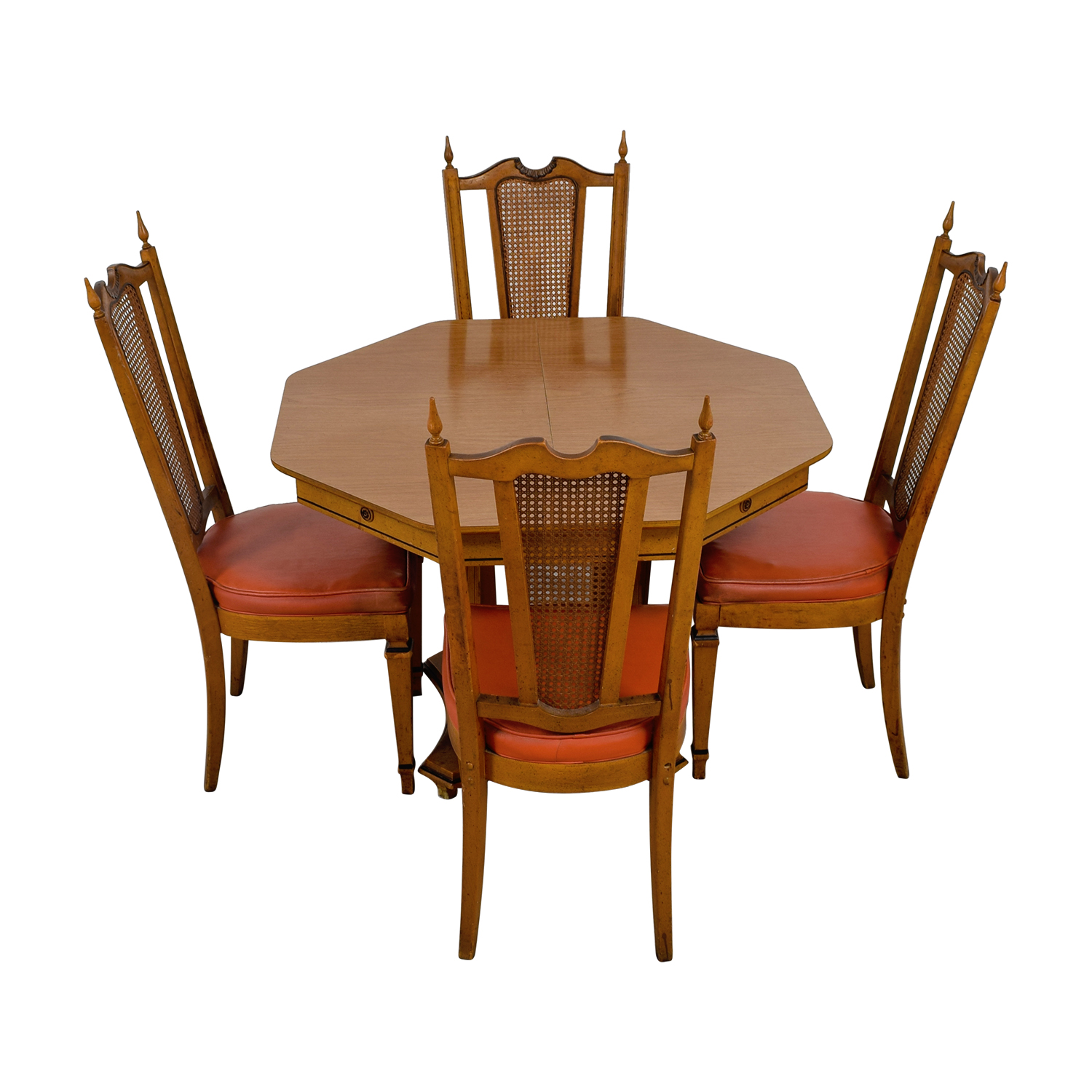 buy Walter Wabash Extendable Wood Dining Set with Red Upholstered Canned Chairs Walter Wabash Dining Sets