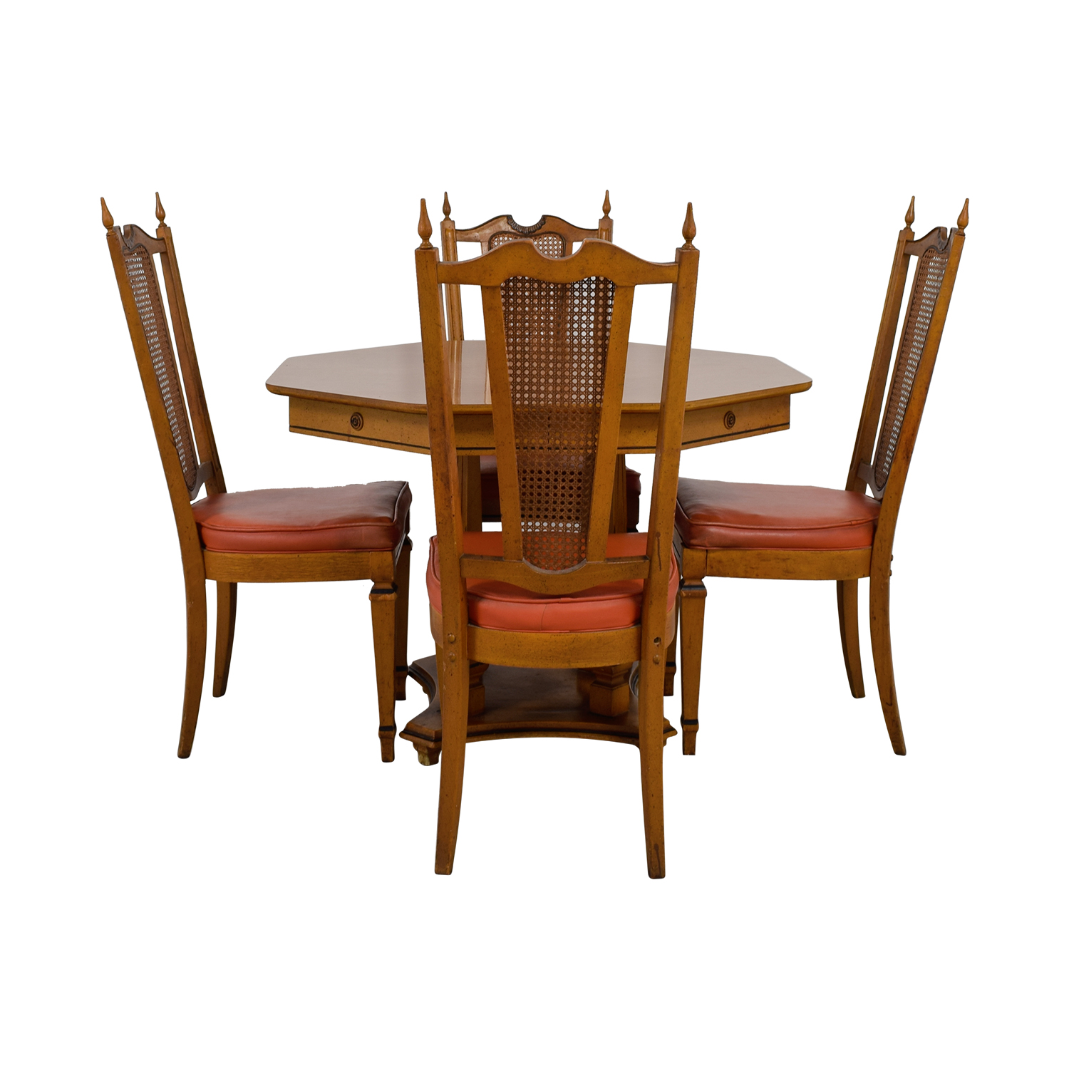 shop Walter Wabash Extendable Wood Dining Set with Red Upholstered Canned Chairs Walter Wabash Dining Sets