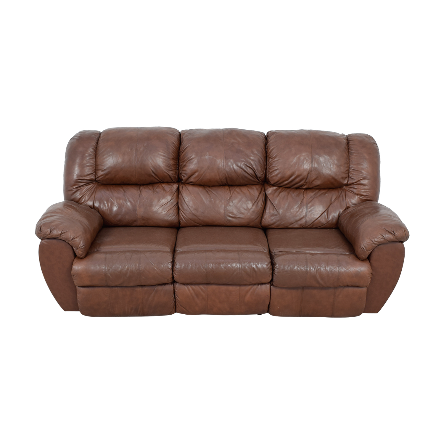 80% OFF - Ashley Furniture Ashley Furniture Dual Reclining Brown Leather  Couch / Sofas