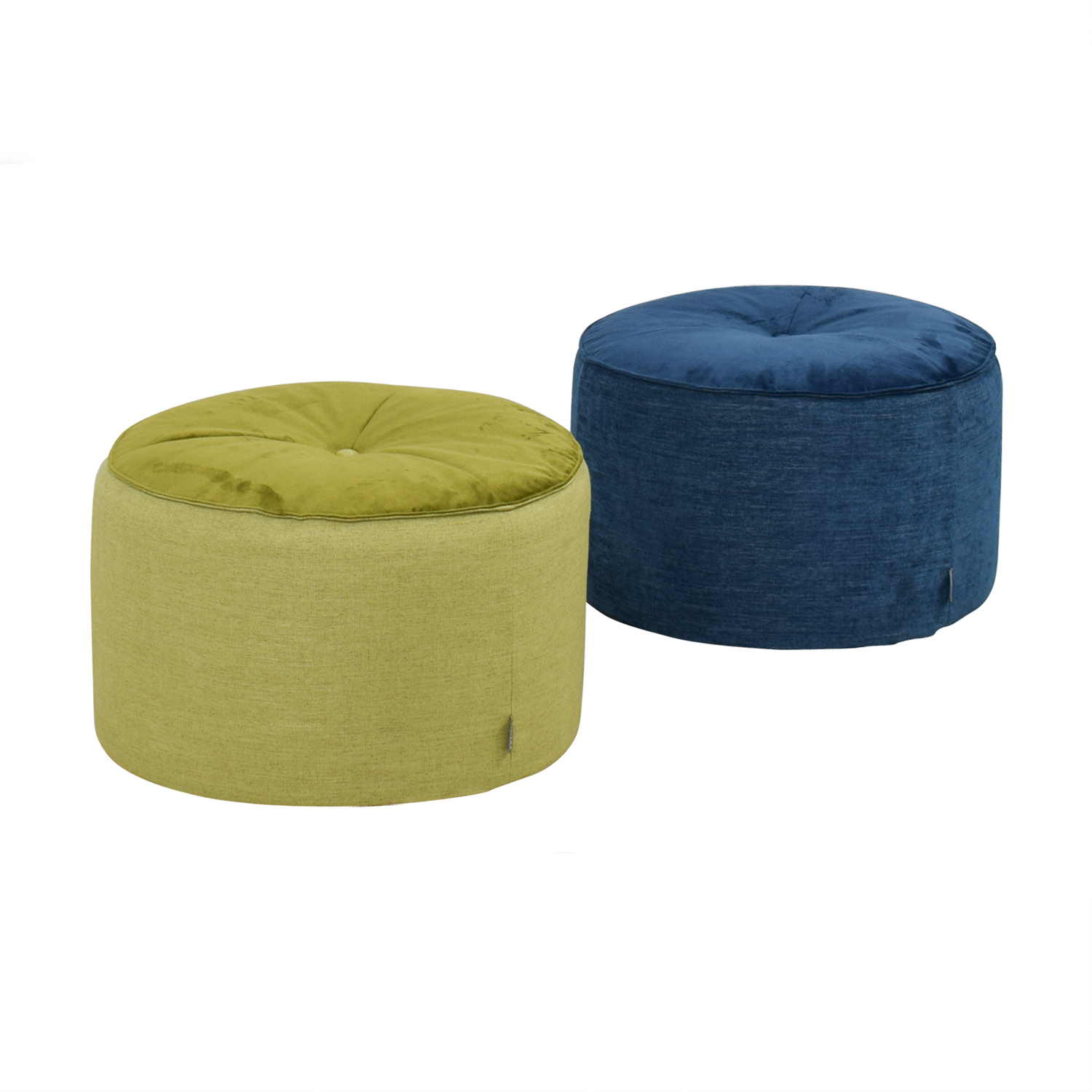57 Off Article Article Green And Blue Velvet And Tweed Round Pouf Ottomans Chairs