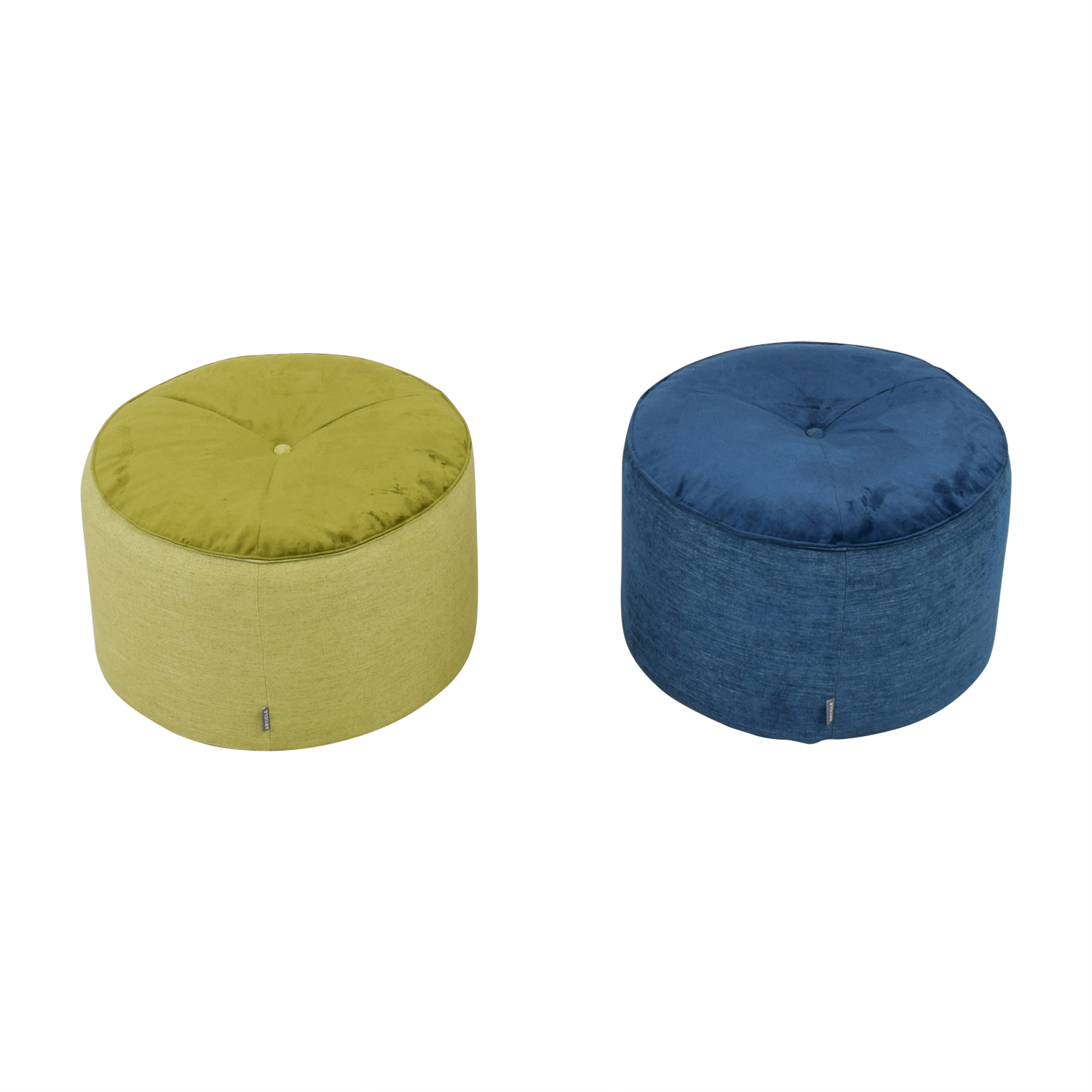Article Green and Blue Velvet and Tweed Round Pouf Ottomans Article