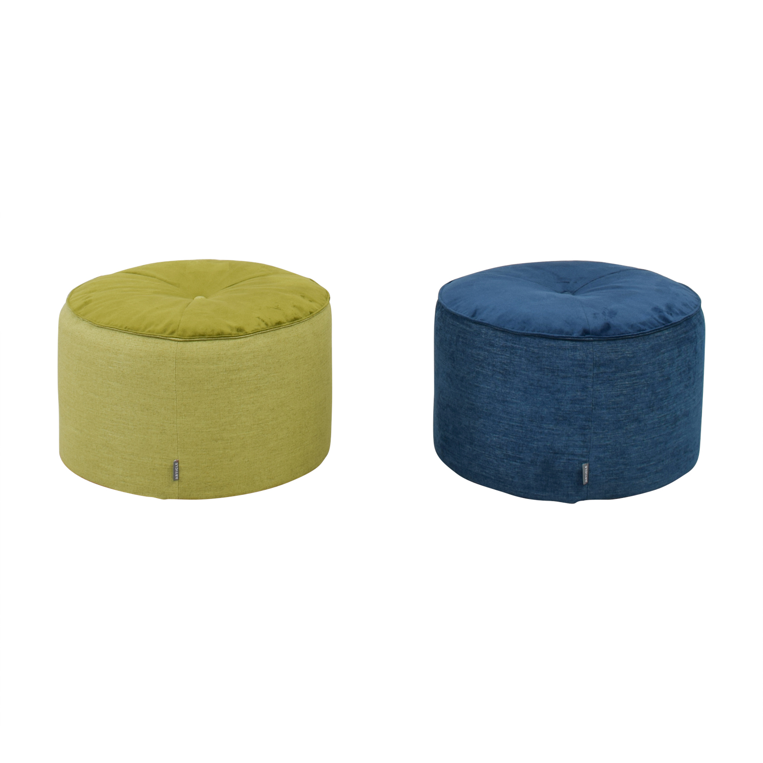 Article Green and Blue Velvet and Tweed Round Pouf Ottomans / Ottomans