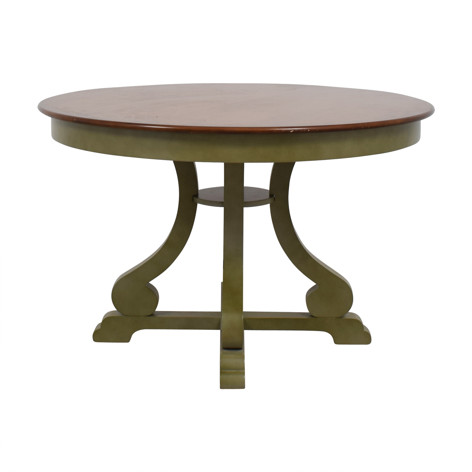 Pier 1 Imports Green and Wood Round Dining Table sale