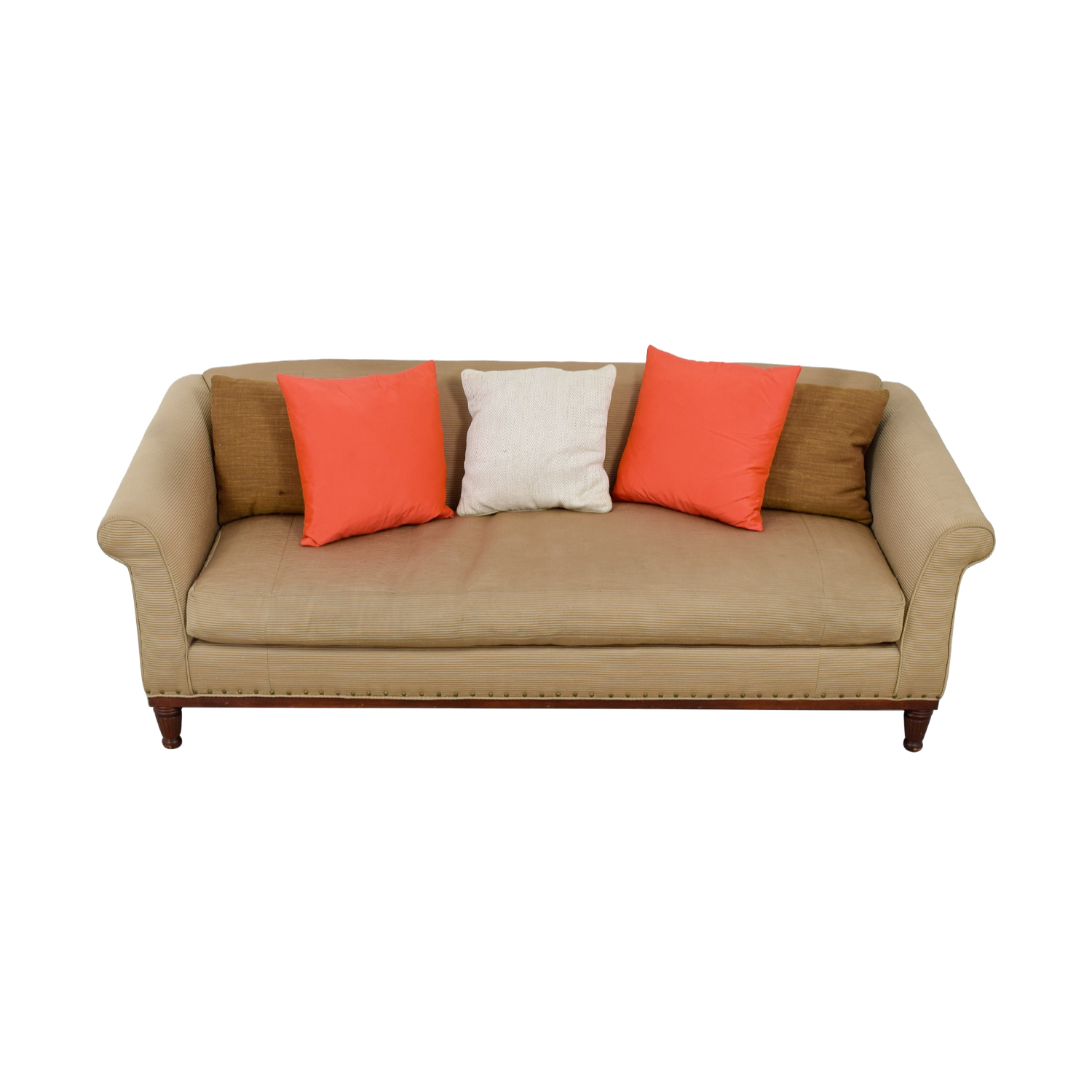 Ralph Lauren Tan Chinoisserie Nailhead Sofa sale