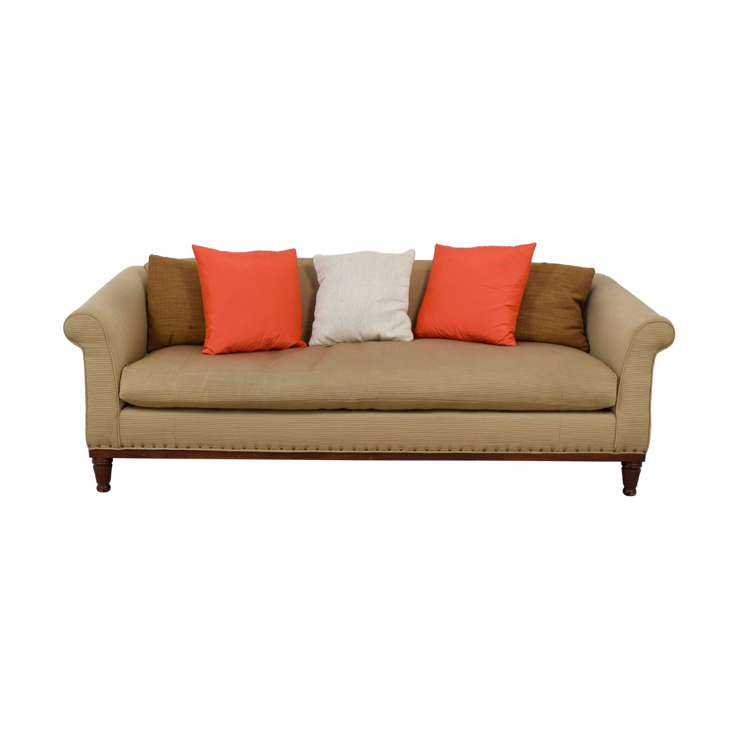 Ralph Lauren Ralph Lauren Tan Chinoisserie Nailhead Sofa on sale