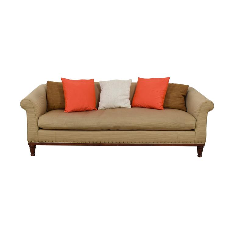 Ralph Lauren Tan Chinoisserie Nailhead Sofa sale