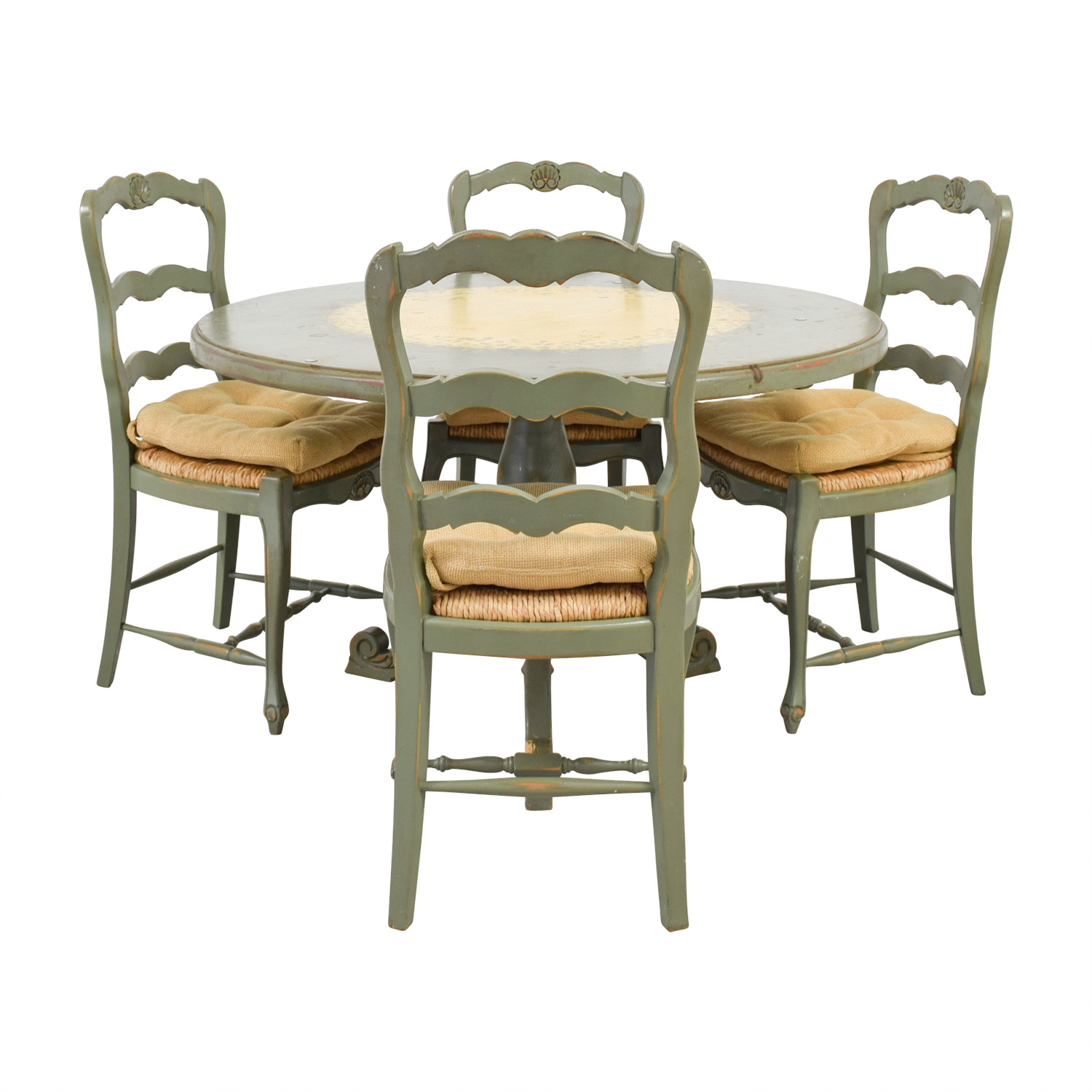Country Kitchen Table Sets: Hand Painted Country Style Kitchen Table And