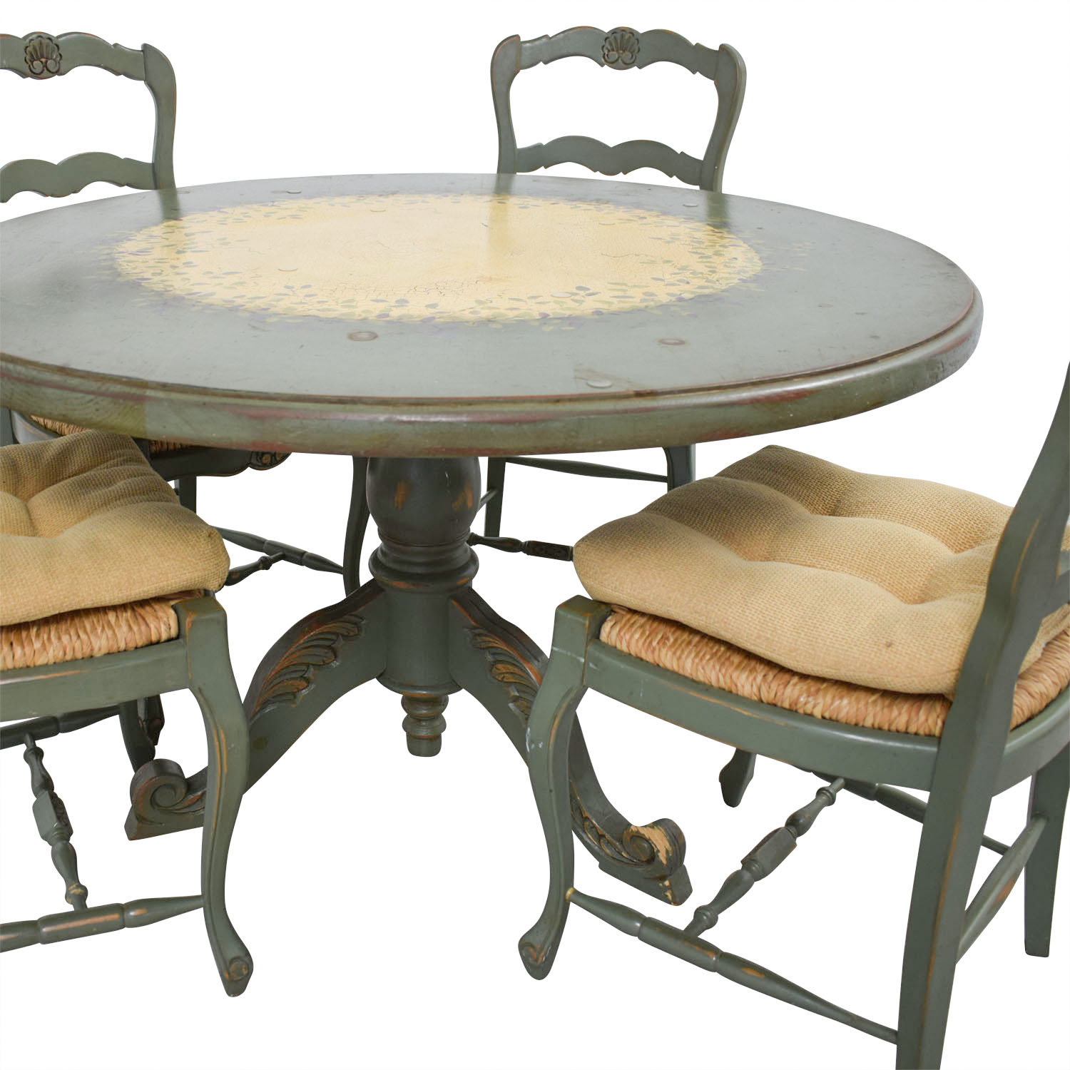 90% OFF - Hand Painted Country Style Kitchen Table and Chairs / Tables