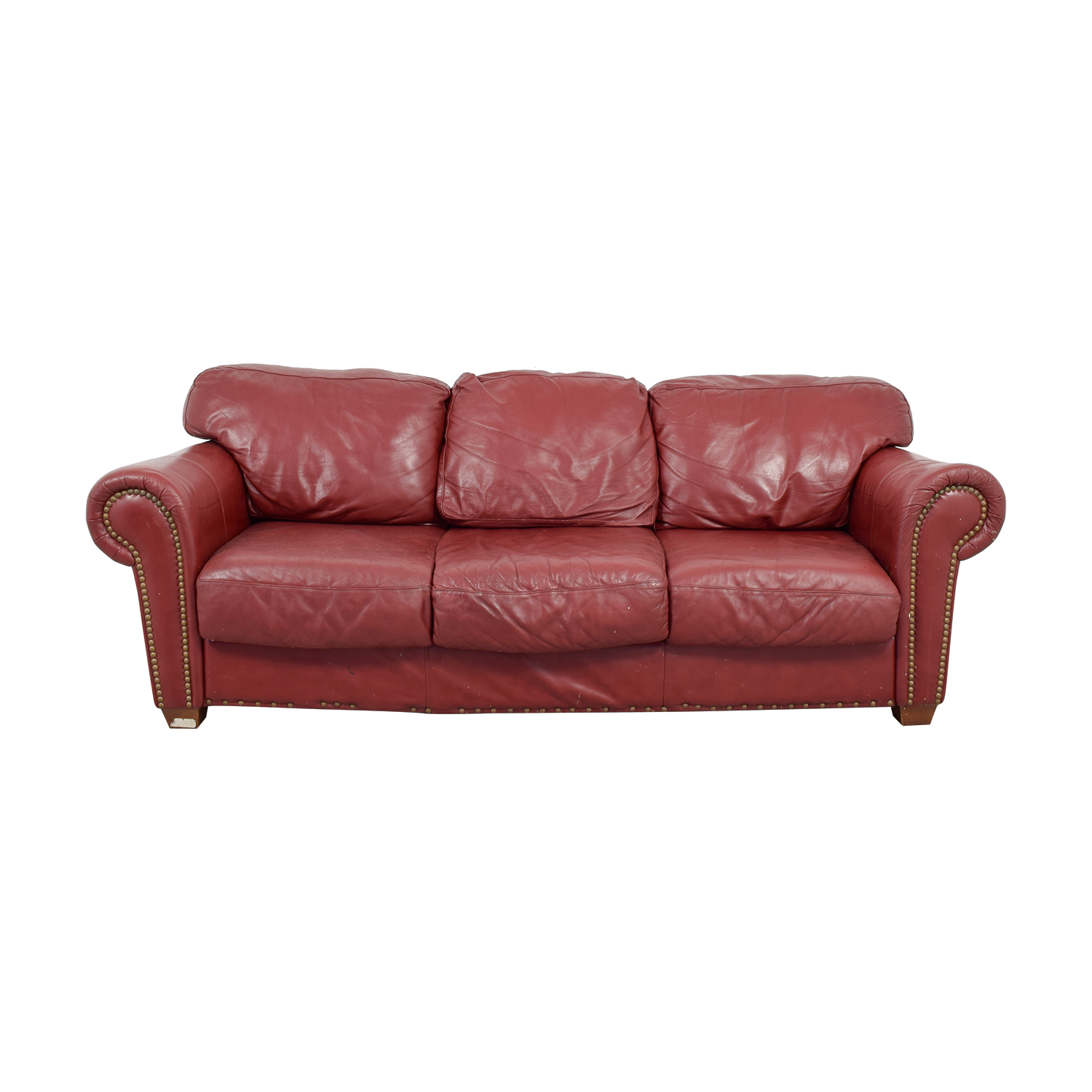 Nailhead Burgundy Leather Three-Cushion Sofa discount