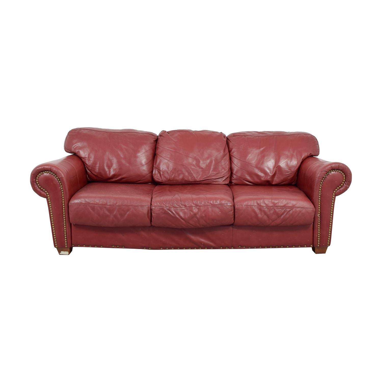 Nailhead Burgundy Leather Three-Cushion Sofa price