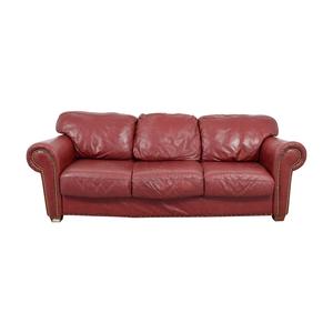 shop  Nailhead Burgundy Leather Three-Cushion Sofa online