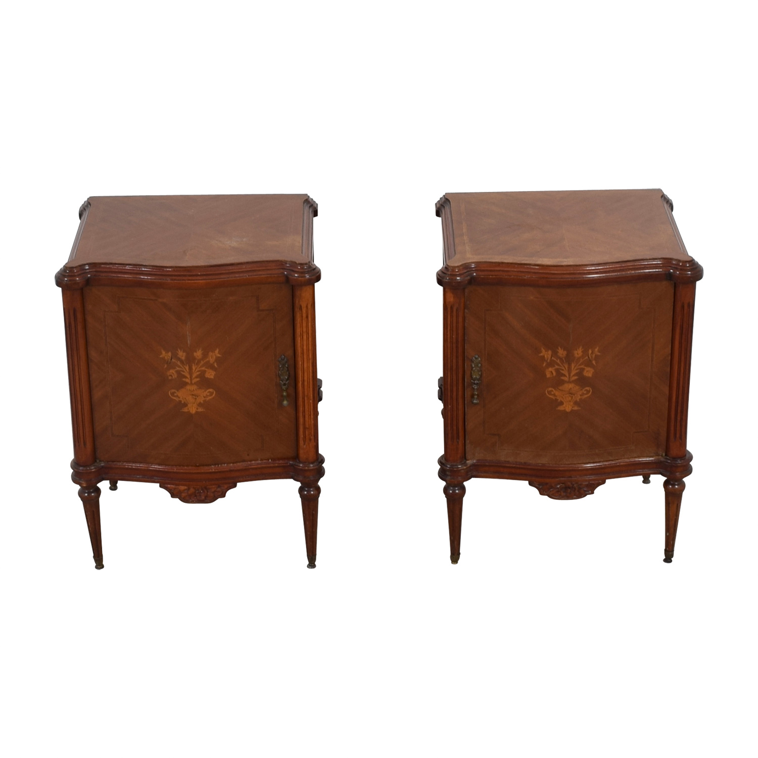 Wooden Nightstands with Inlaid Design End Tables