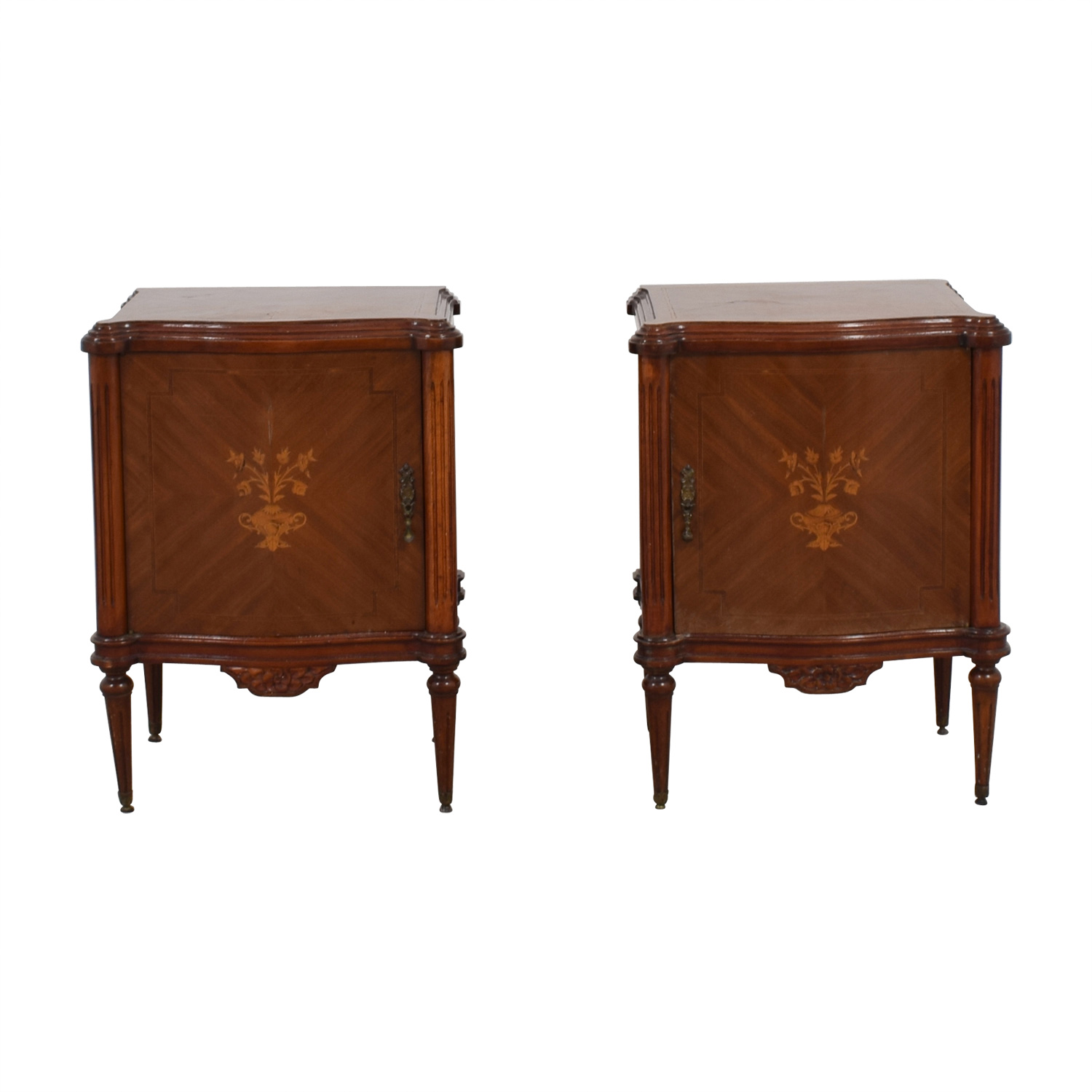 Wooden Nightstands with Inlaid Design on sale