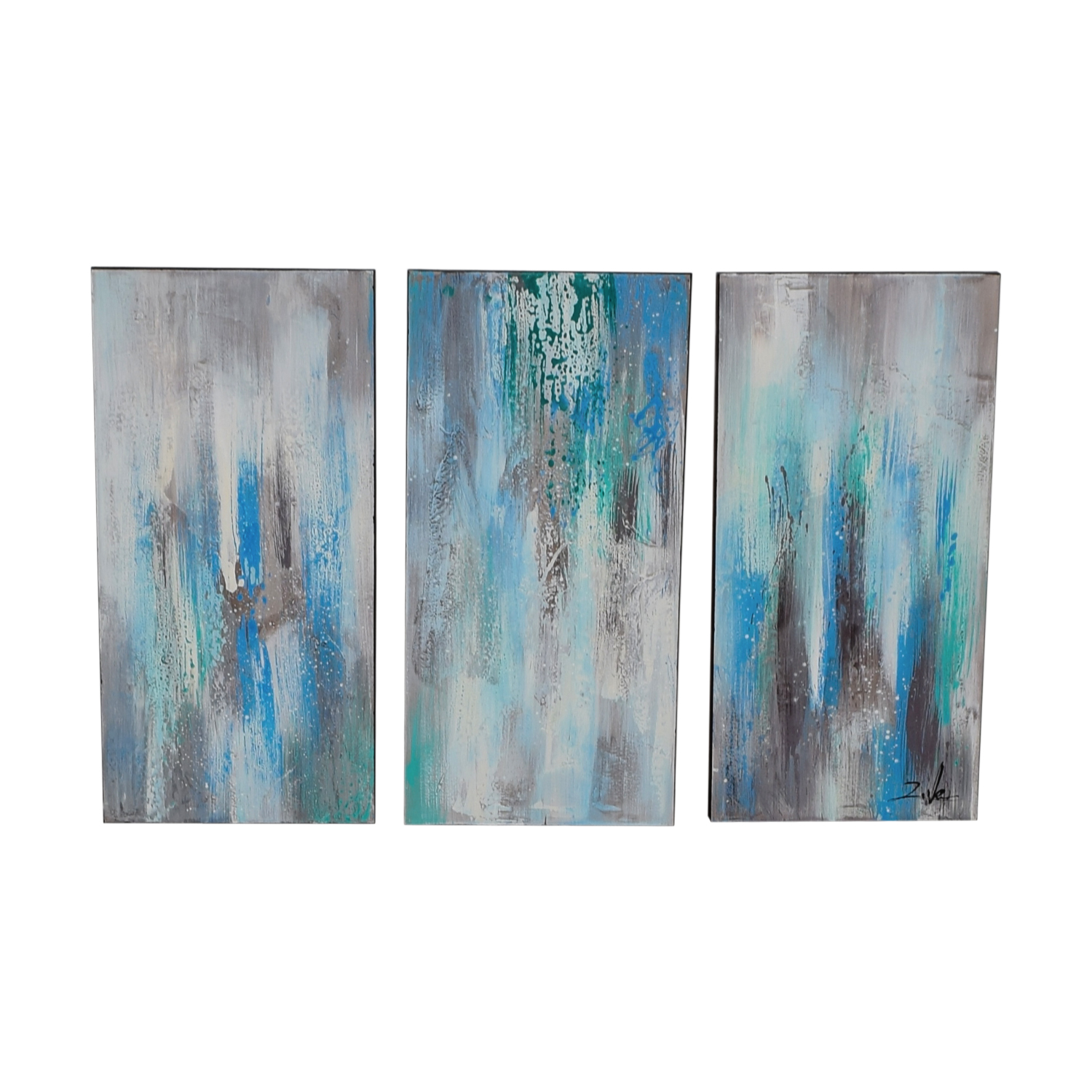 buy Sea of Clarity Three Piece Gallery Wrapped Canvas Painting