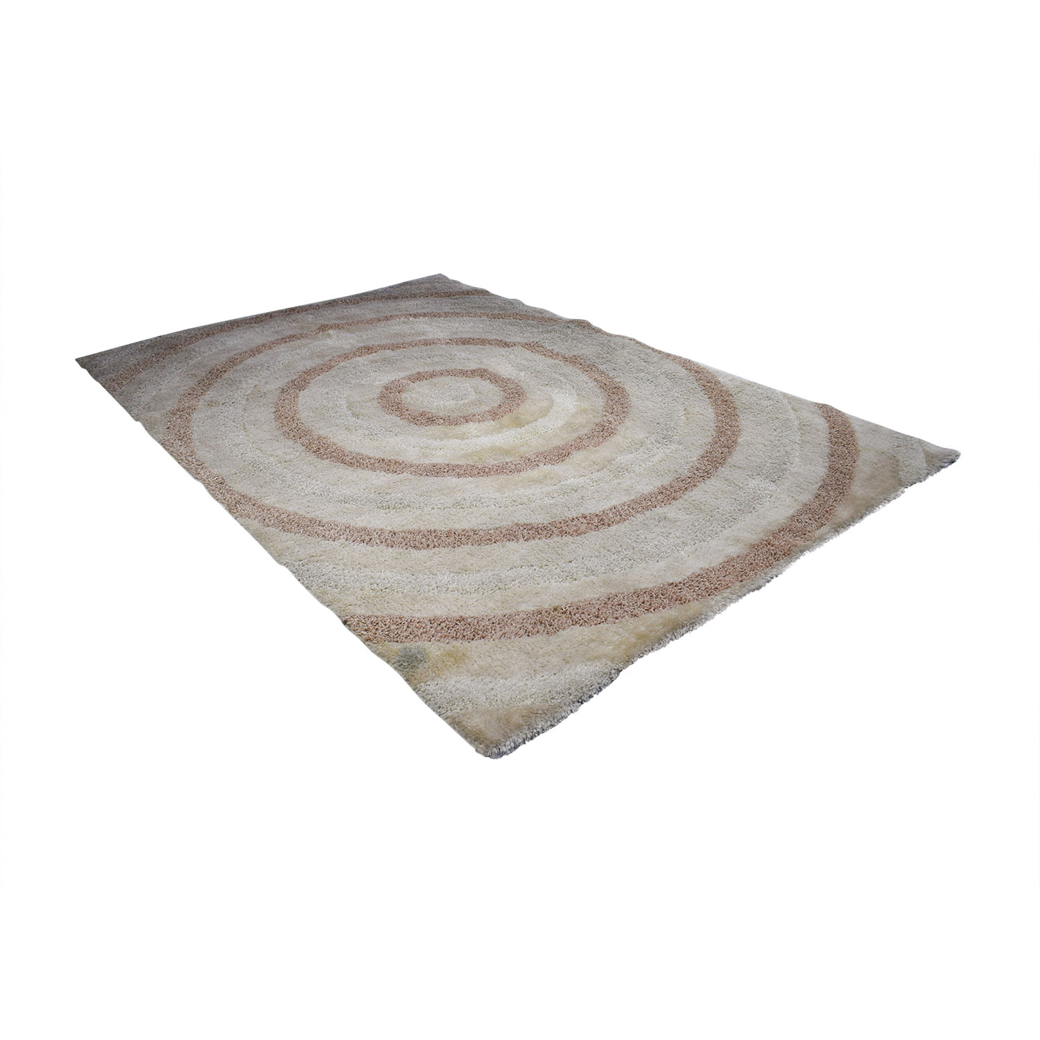 shop Angora White and Tan Circle Rug Angora Sofas