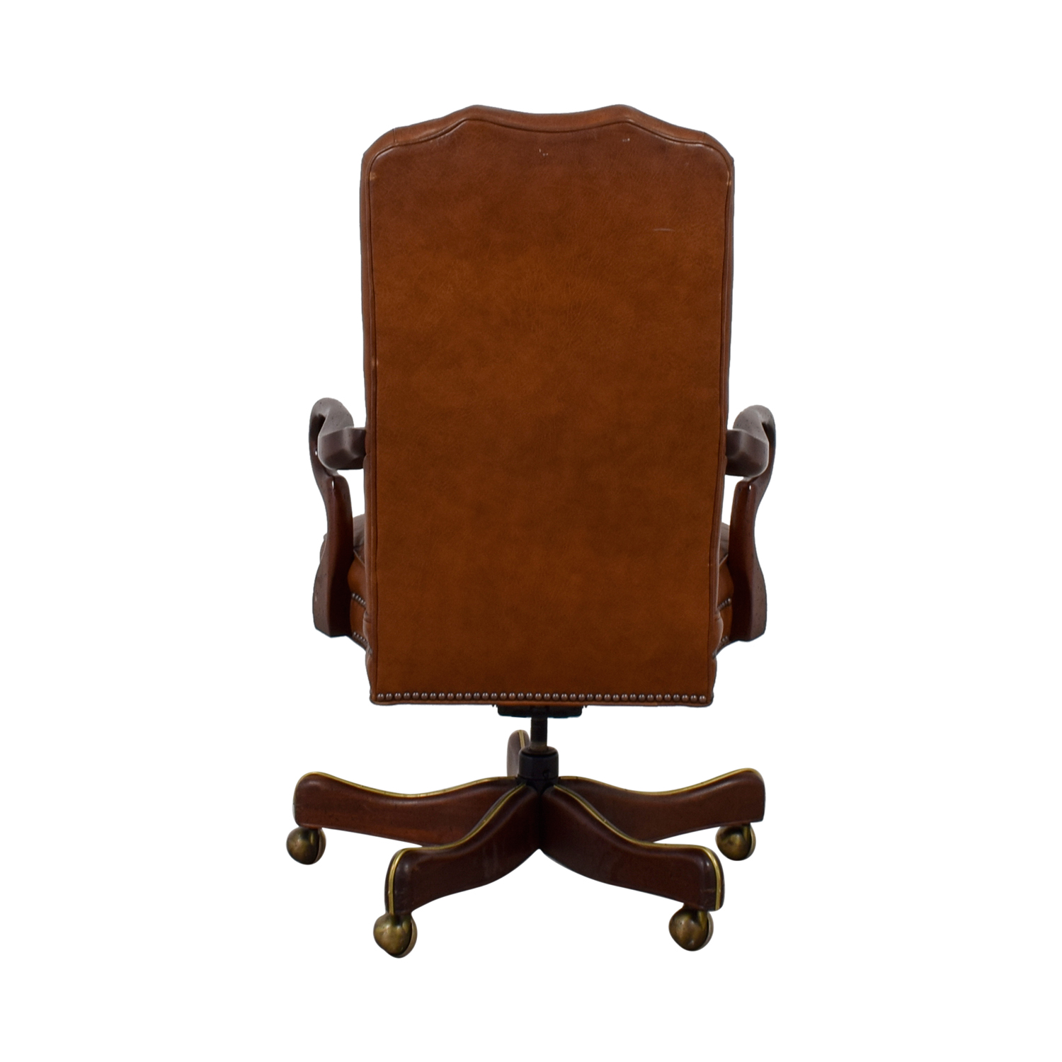 Charles Stewart Company Brown Leather Desk Chair For