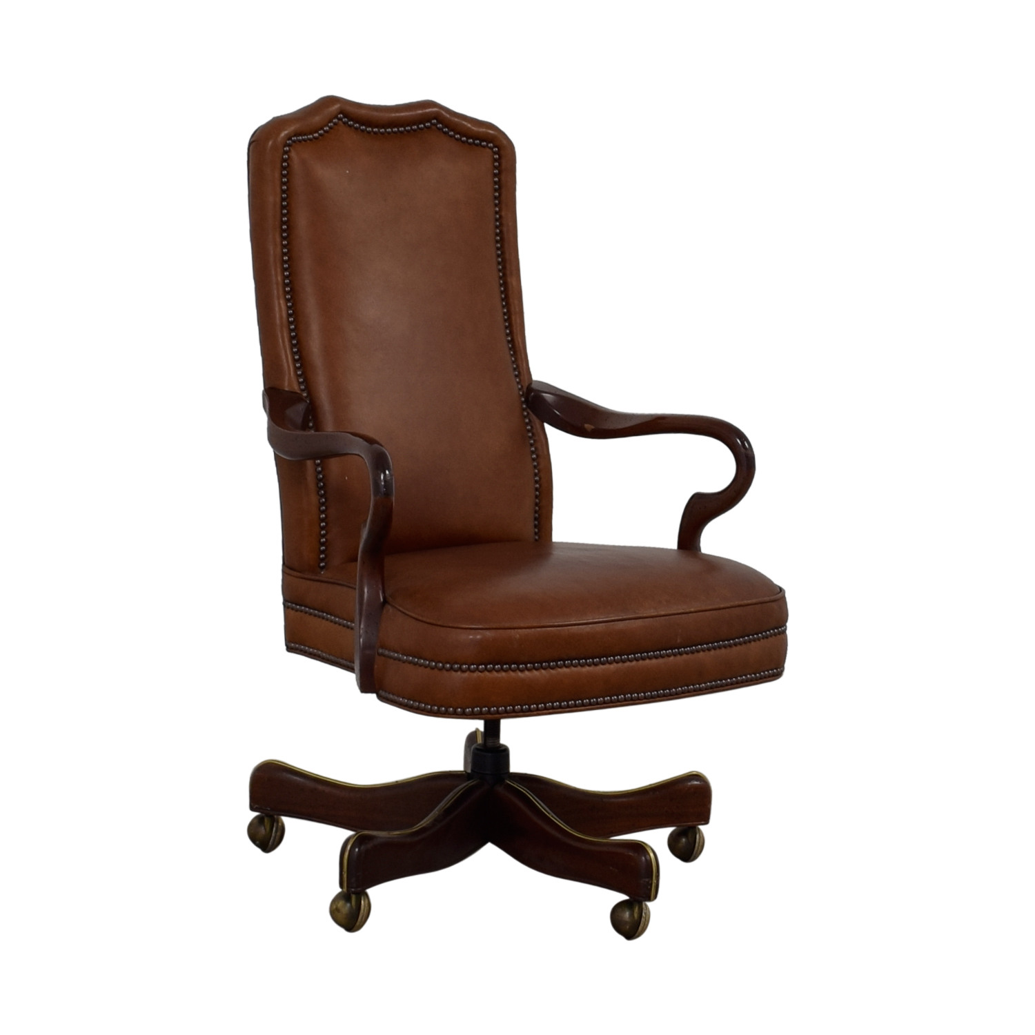 Charles Company Brown Leather Desk Chair Used
