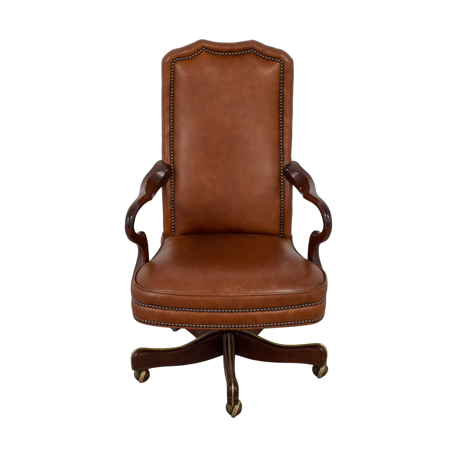 71 off charles stewart company charles stewart company brown leather desk chair chairs. Black Bedroom Furniture Sets. Home Design Ideas