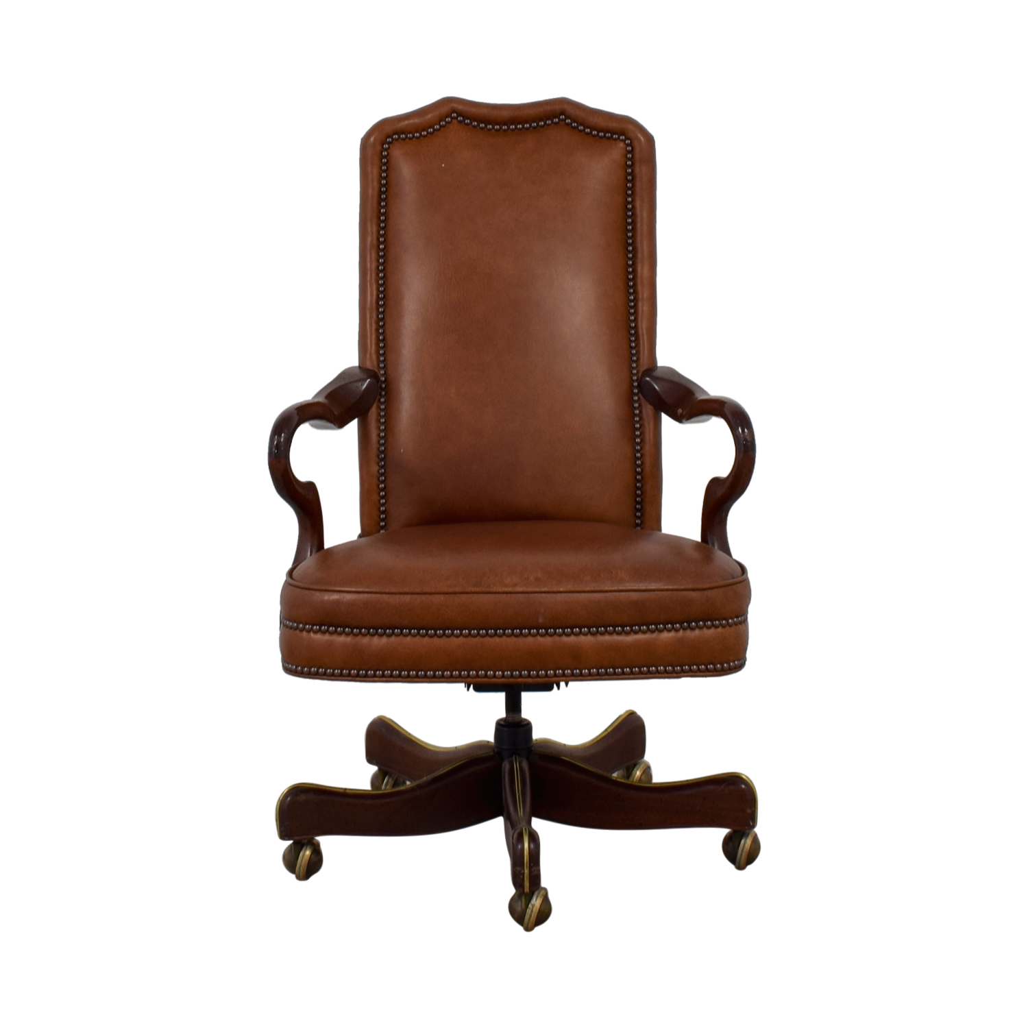 Charles Stewart Company Brown Leather Desk Chair / Chairs