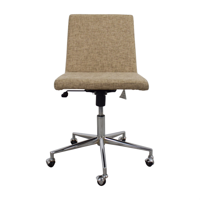 Beige Armless Swivel Office Chair