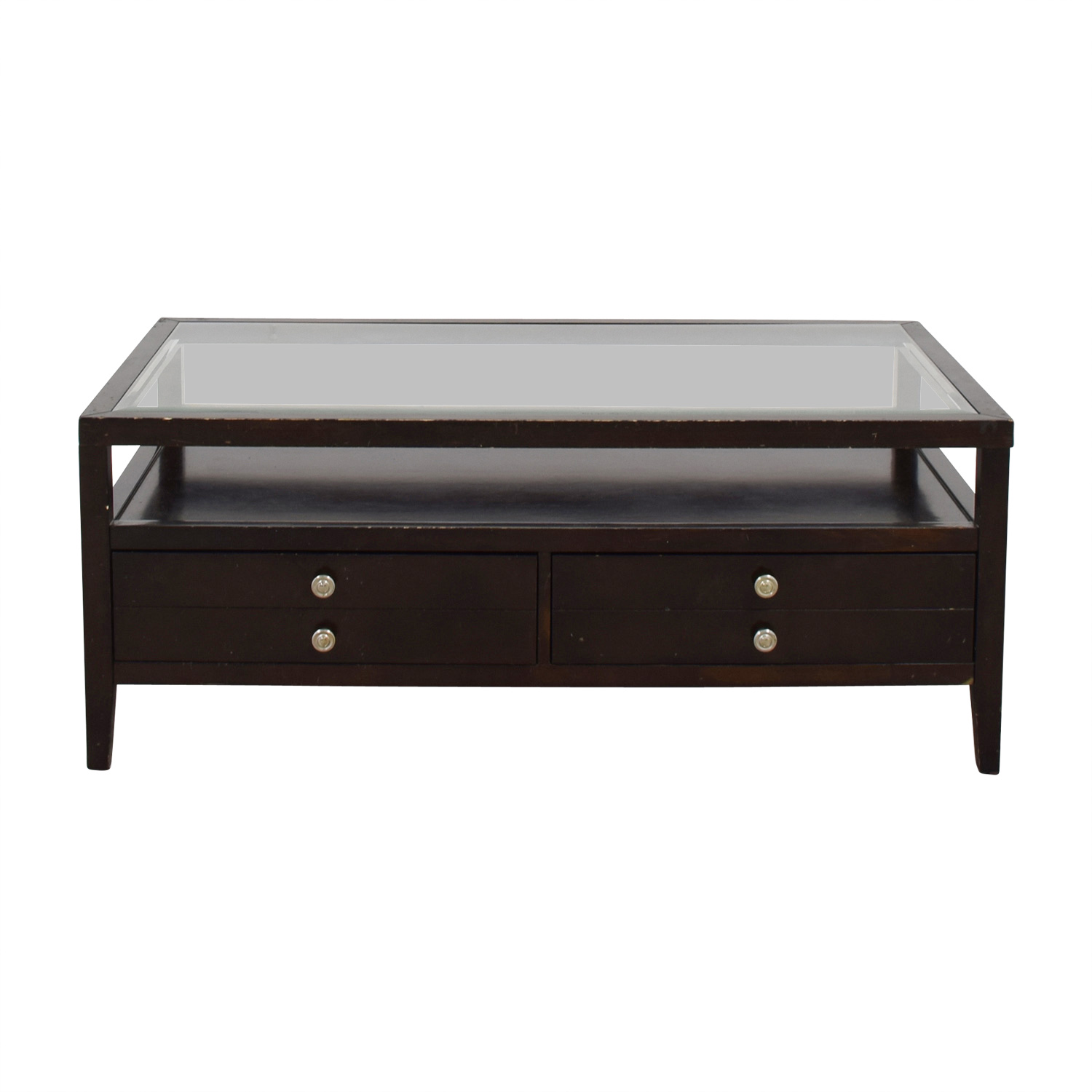 61 Off Black Wood And Glass Coffee Table Tables