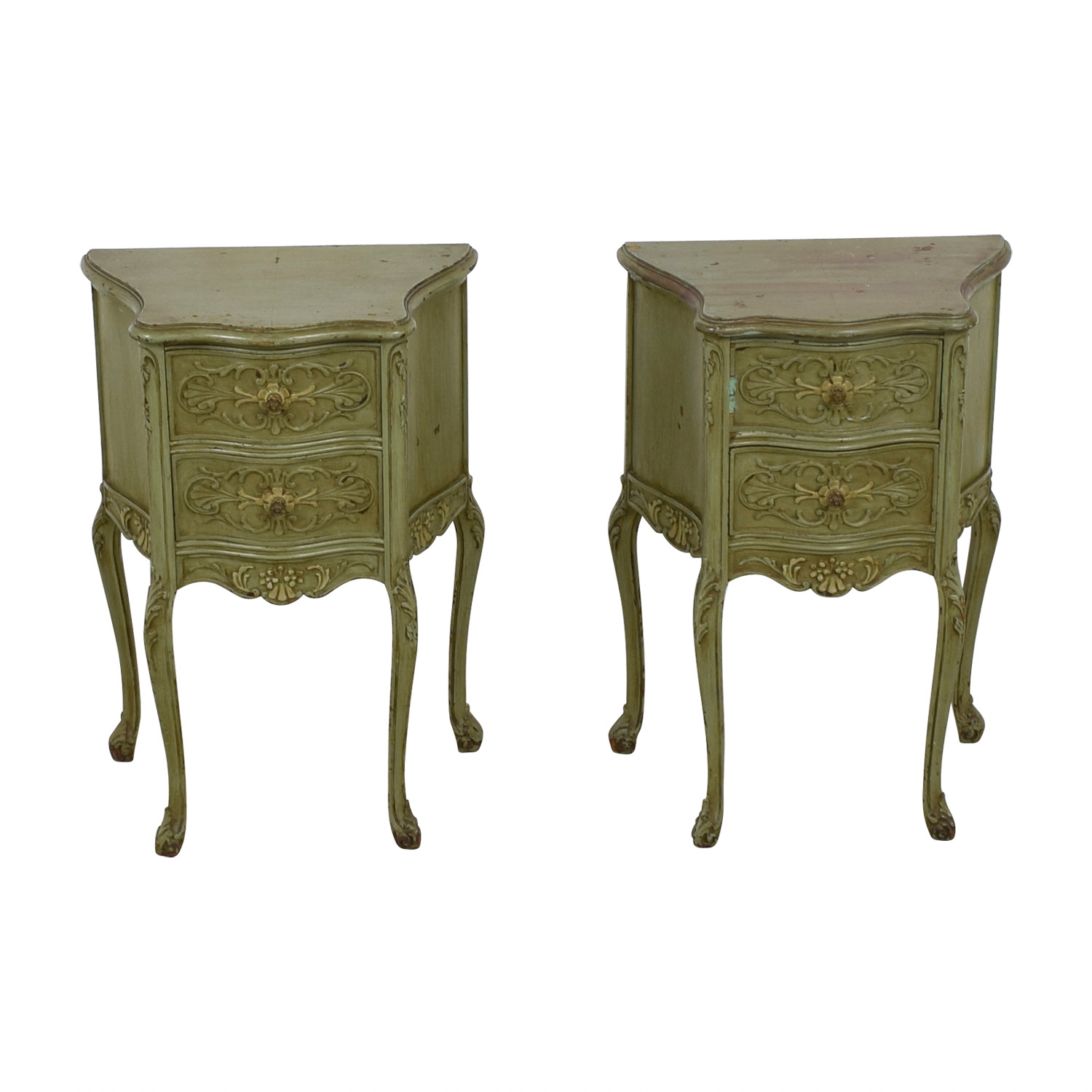 62 Off Antique Green Carved Wood Side Tables Tables