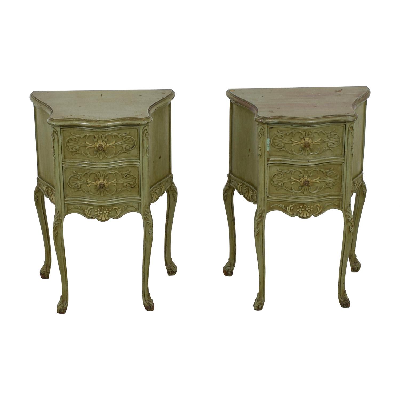 Antique Green Carved Wood Side Tables on sale