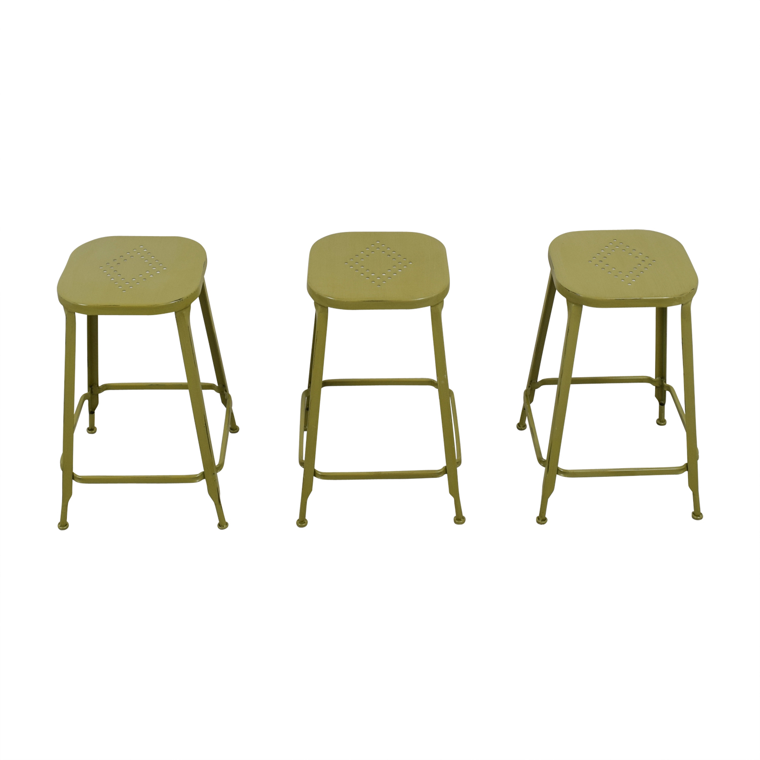 Green Metal Weathered Backless Stools / Stools
