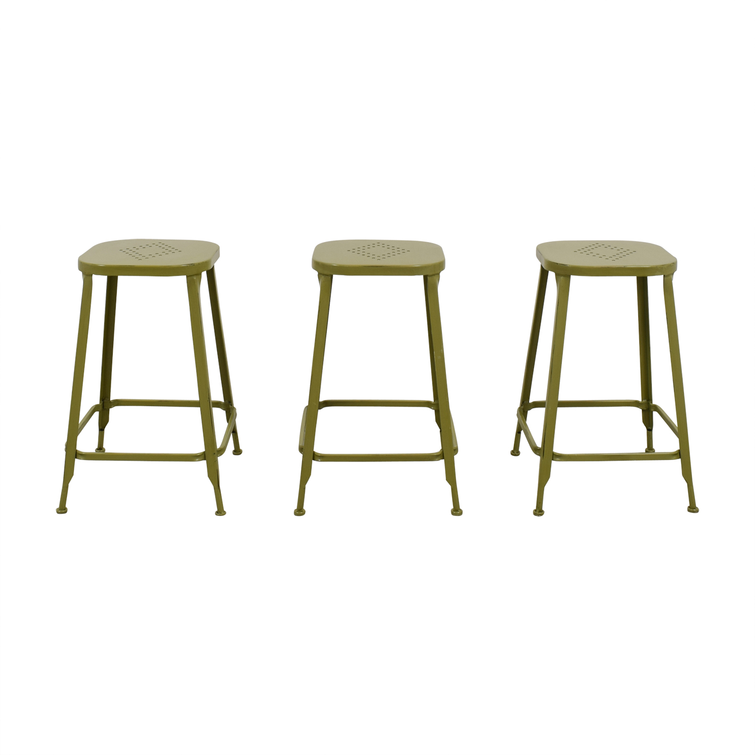 Pier 1 Green Metal Weathered Backless Stools for sale