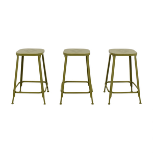 Pier 1 Green Metal Weathered Backless Stools price