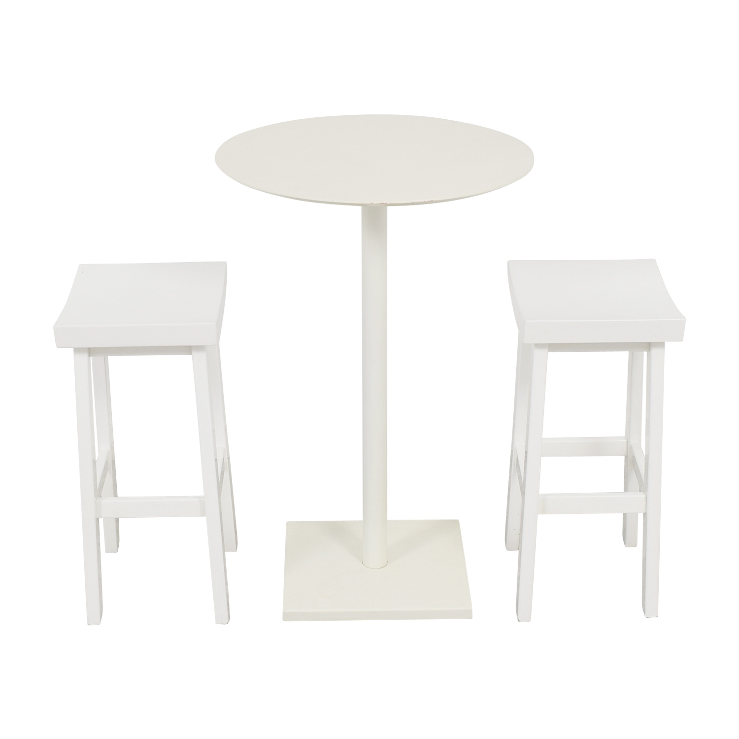 CB2 CB2 White High-Top Table and Stools second hand