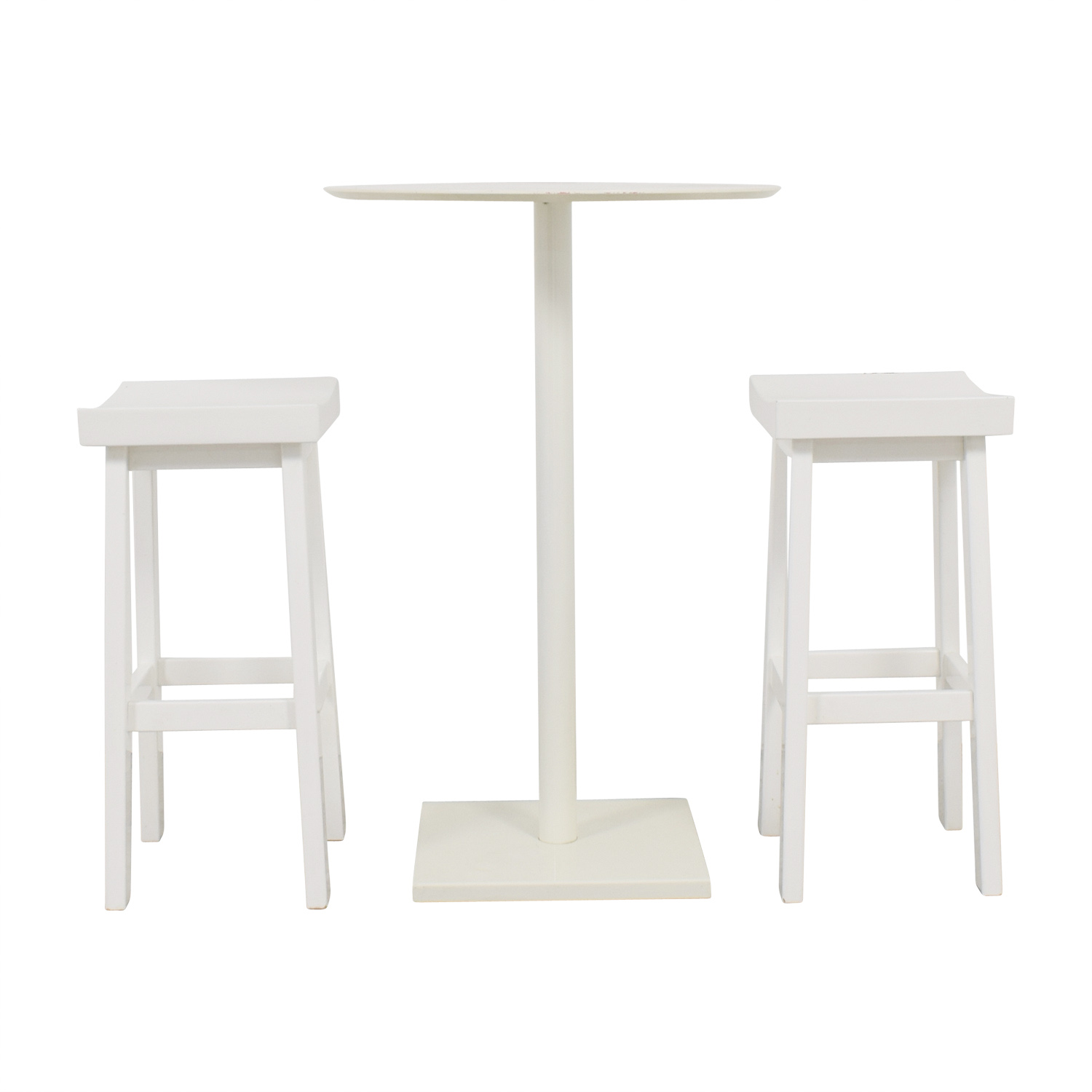CB2 White High-Top Table and Stools sale