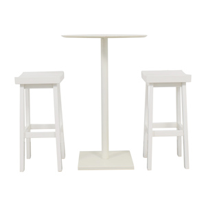 CB2 CB2 White High-Top Table and Stools nj