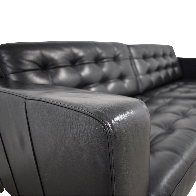 59% OFF - IKEA IKEA Karlstad Grann Black Tufted Leather Sofa / Sofas