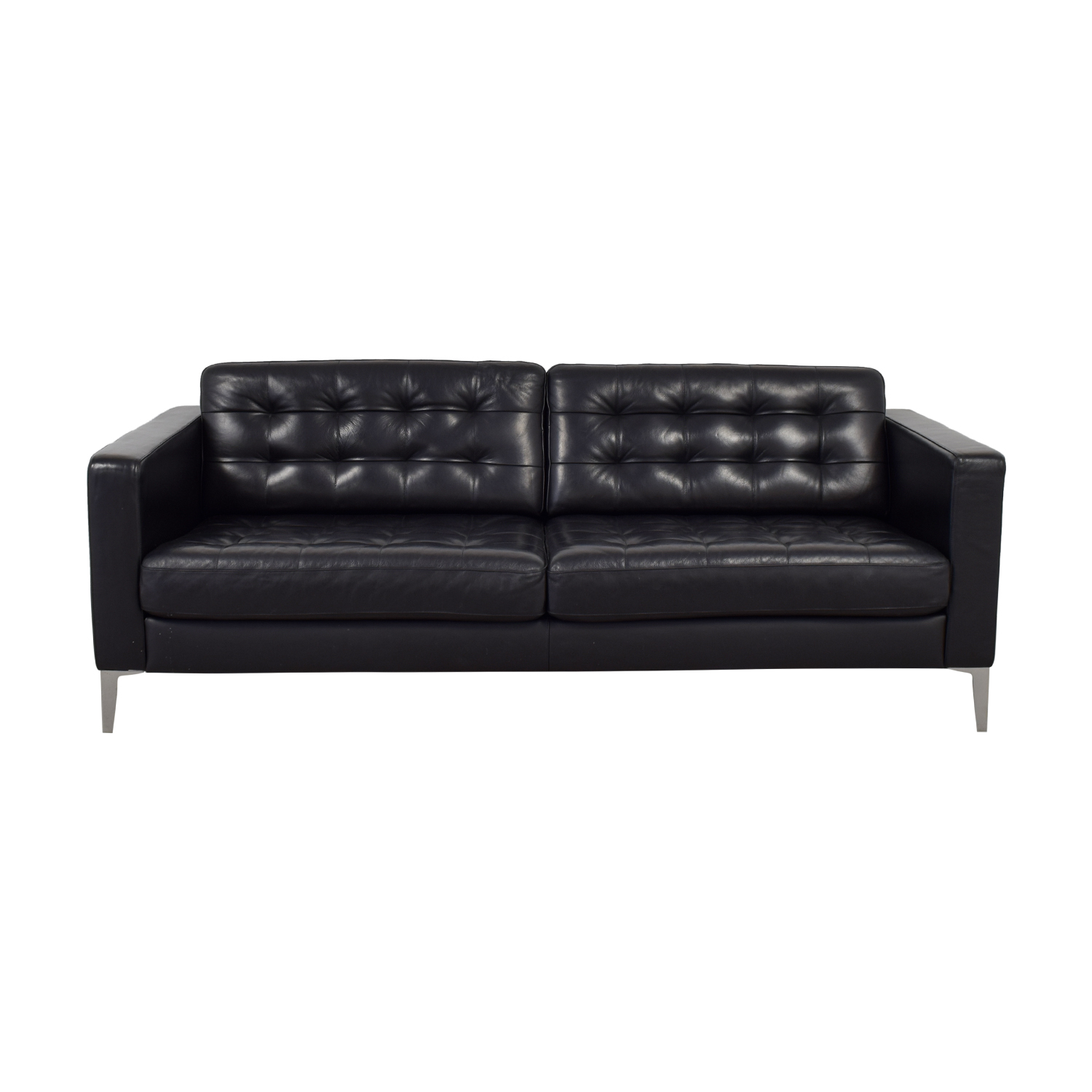 59 Off Ikea Ikea Karlstad Grann Black Tufted Leather Sofa Sofas