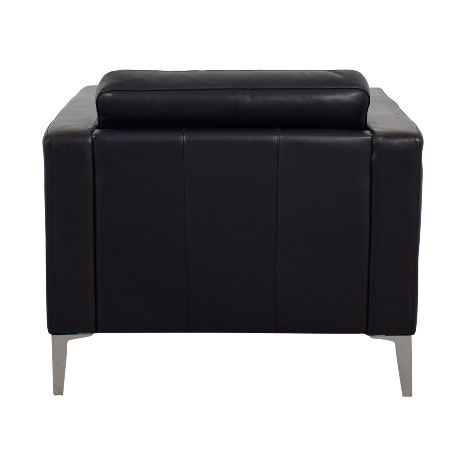 CB2 Black Tufted Leather King Chair / Chairs