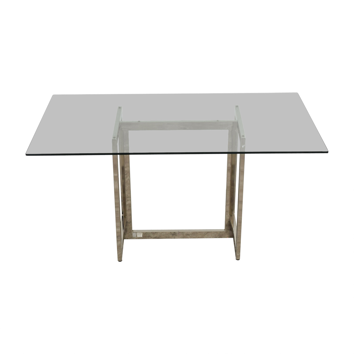 buy CB2 Metal and Glass Rectangular Dining Table CB2 Tables