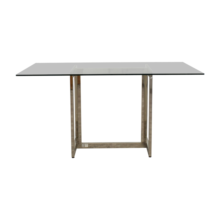 CB2 CB2 Metal and Glass Rectangular Dining Table dimensions