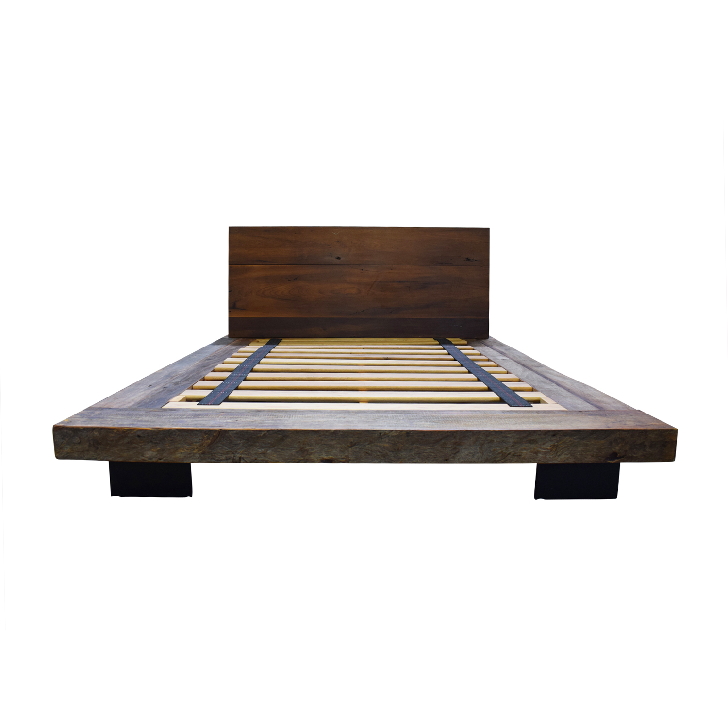 buy Industrial Rustic Wood Platform Queen Bed Frame  Beds