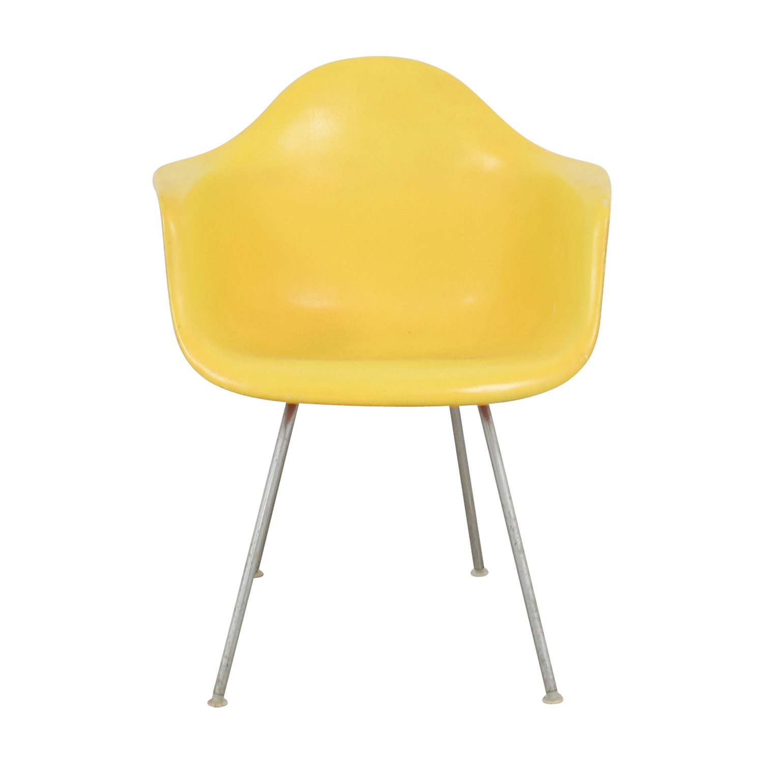 Yellow and Orange Plastic Eames Inspired Arm Chair second hand