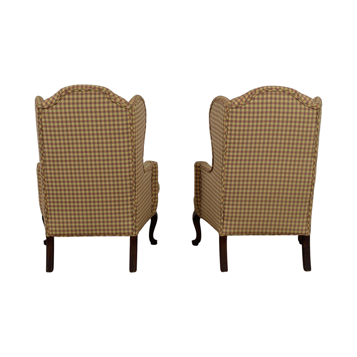 Ethan Allen Ethan Allen Plaid Queen Anne Accent Chairs nj