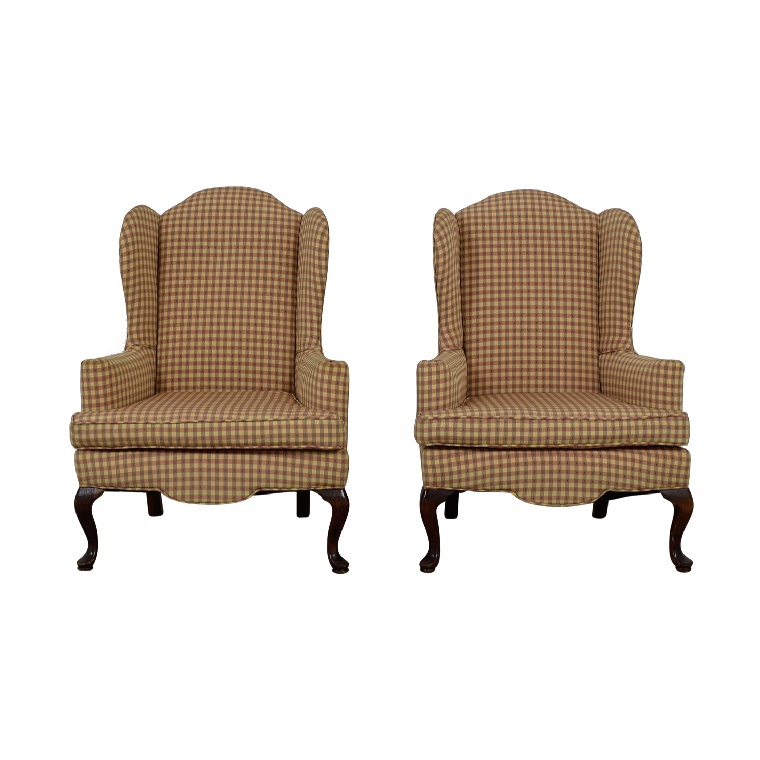 88 Off Ethan Allen Plaid Queen Anne Accent Chairs